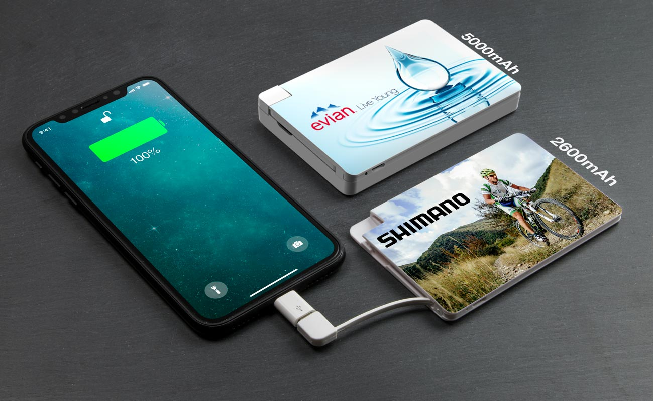 Card - Powerbank Med Tryk